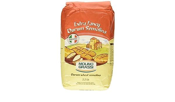 Molino Grassi Harina extra de trigo de sémola de trigo duro, 2.2 ...