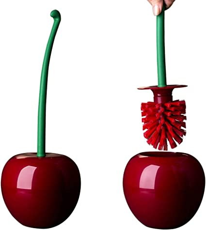 Set di spazzole e Supporto per lavabo Scopino a Forma di Ciliegia Cucina Strumento di Pulizia Toliet per Doccia Angoli Konesky spazzolone WC a Forma di Ciliegia