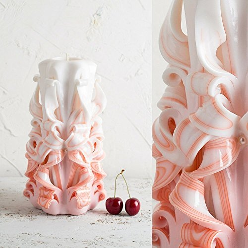 Orange and White Decor Gentle Colors - Decorative Handmade Unity Wedding Carved Candle - EveCandles