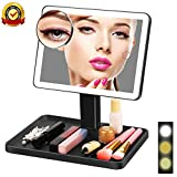 LEEGOYO Lighted Makeup Vanity Mirror with 3 Color Lights 44 Led, 10X Magnification Mirror and Adjustable Touch Screen,Dual Power Supply,360° Rotation,Tray Storage Cosmetic Mirror Black