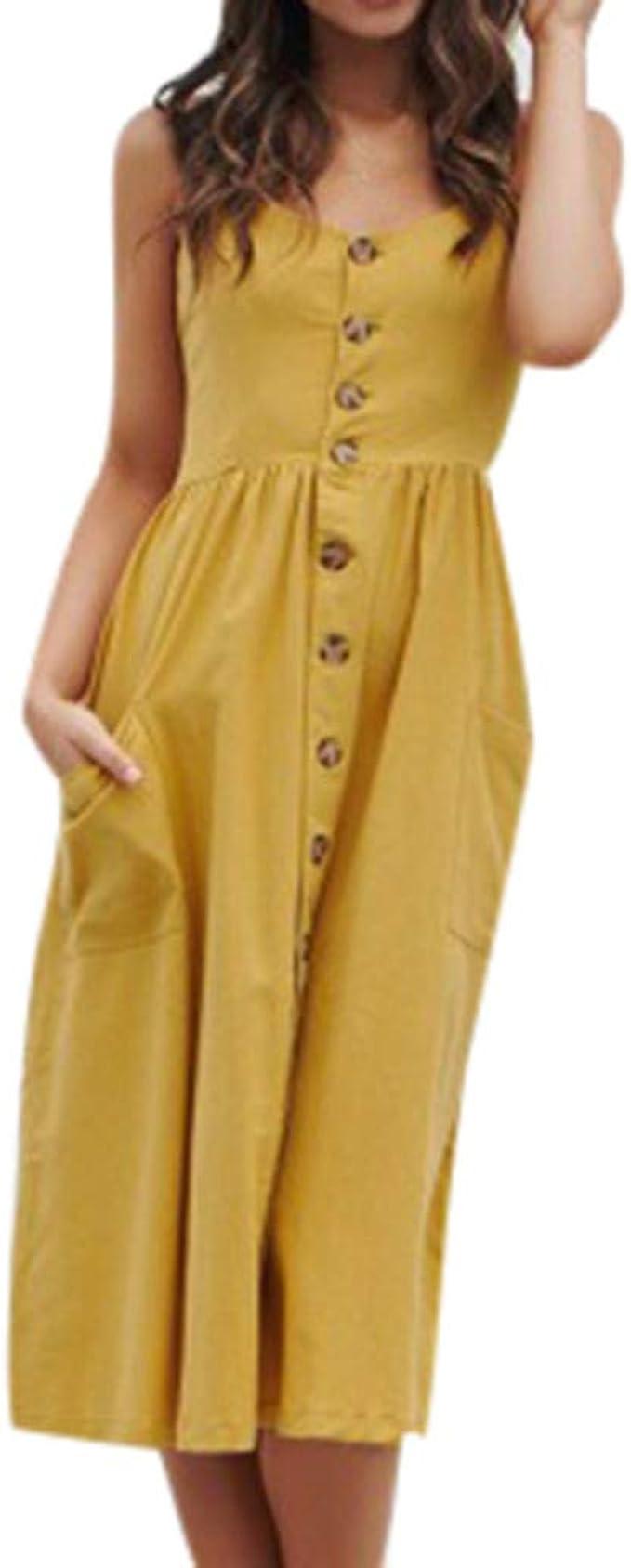 NPRADLA 13 Sommer Damen Kleid Ferien unregelmäßiges Strand Buttons  Party-Kleid
