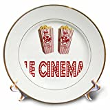 3dRose RinaPiro Movie Sayings - Le Cinema. Popcorn. - 8 inch Porcelain Plate (cp_273568_1)