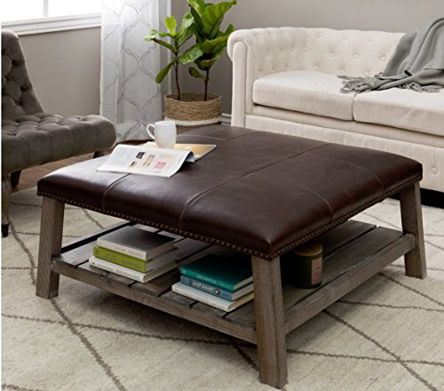 Coffee Table Ottoman w/ Brown Leather Upholstery, Elegant Nailhead Trim & Spacious Storage Shelf w/ Vintage Weathered Wood Finish. Perfect Accent Piece Goes Great w/ Any Modern Living Room Decor. (With Table Leather Shelf Coffee Ottoman)