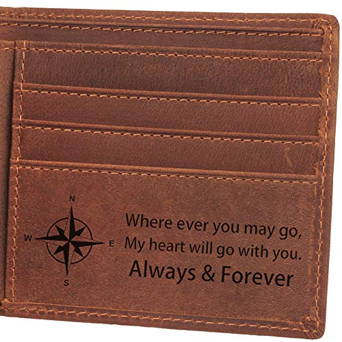 Always and Forever, Personalized Engraved Wallet for Men, Personalized Gifts for Men, Birthday Gifts for Men, Mens Leather Wallet for Anniversary Gifts, Man Gifts Ideas