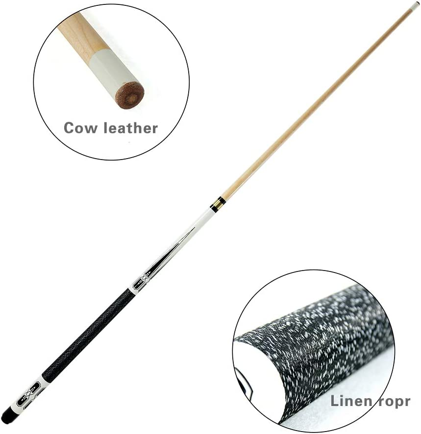 Hardwood Canadian Maple Professional Billiard Pool Cue Stick 19-21 Oz 58 TaiBA 2-Piece Pool Stick with 1x1 Case,13mm Multilayer Leather Tip