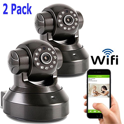 Coolcam HD 720P Wireless WiFi IP Camera Smartphone CCTV Security Surveillance 2way Audio with Night Vision and Motion Detect Free P2P Cloud Connection Service with QR Code 2 Pack