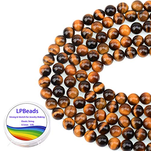 LPBeads 100PCS 8mm Natural Yellow Tiger Eye Beads Gemstone Round Loose Beads for Jewelry Making with Crystal Stretch Cord