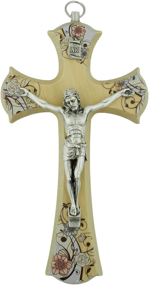 "Wooden Wall Crucifix | Choose from 5 Beautiful Designs | Great Christian Gift for Weddings and Housewarmings | Home Goods | Made in Italy (6.5"" Floral Cross)"