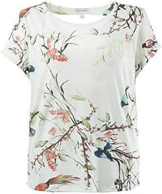 Gina Laura damski do rozmiaru 3XL | T-shirt z wzorem tropikalnym | dekolt w łÓdkę z krÓtkim rękawem | regularne dopasowanie | 711248, kolor: białawy , rozmiar: 3xl: GINA LAURA: Odzież