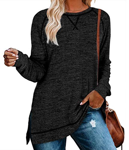 QAKEHU Damen Tunika Tops Langarm Herbst Rundhalsausschnitt Casual Loose Shirt Bluse Pullover