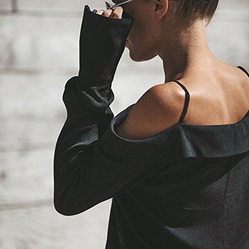 et Sling de Dcontract Imprim Couleur Hauts Col Sexy Mode Off Quotidien Femme Unie V Noir DEELIN Style Chemise Longues Blouse Manches Shoulder Deux qFU6xXOw