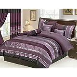"7 Piece Oversize Eggplant Purple / Black silver stripe Chenille Comforter set 106"" X 94"" King Size Bedding"