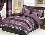 Purple and Silver Comforter Set 7 Piece Oversize Eggplant Purple / Black silver stripe Chenille Comforter set 90