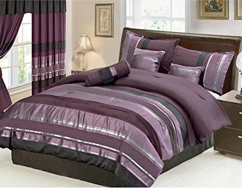 7 Piece Oversize Eggplant Purple / Black silver stripe Chenille Comforter set 106
