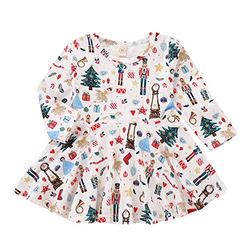 Infant Baby Girl Xmas Dress Cartoon Funny Pattern Toddler Long Sleeve Skirt Party Clothes Outfits Set (3-4 Years, White)