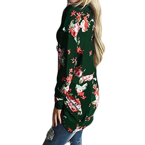 Casual Longues Cardigan Vert Imprim Chemisier Automne Manteau Femme Veste Manches Kimono Fleur Printemps qwHnOx8R