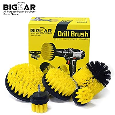 Bigear Drill Brush Attachment Kit - Stiff Medium Soft Nylon Bristle - Turbo Spin Power Scrubber - Pool Tile Floor Brick Marble Ceramic Patio Furniture Car Wheel Bathroom Toilet Cleaner - Set of 5