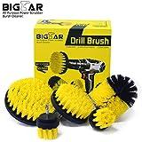 Bigear Drill Brush Attachment Kit - Stiff Medium Soft Nylon Bristle - Turbo Spin Power Scrubber - Pool Tile Floor Brick Marble Ceramic Patio Furniture Car Wheel Bathroom Toilet Cleaner - Set of 5