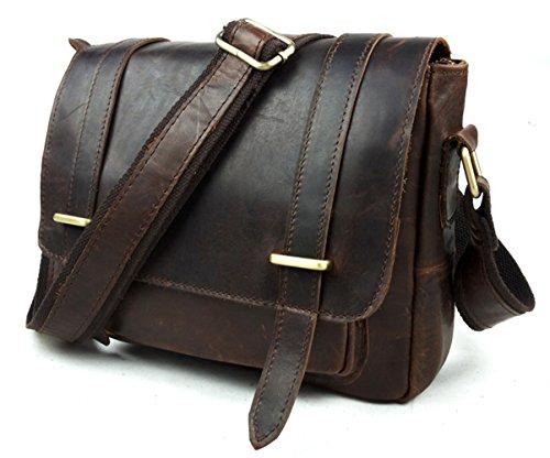 Marrón para hombre Messenger insum bolso Bag transversal de chocolate piel FfZPwq