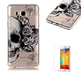 Galaxy J710(2016 Model) TPU Case with Free Screen Protector,Funyye See Through Transparent Soft Rubber Silicone Gel TPU Bumper Ultra Thin Colourful Print Design Protective Case - Flowers Skull