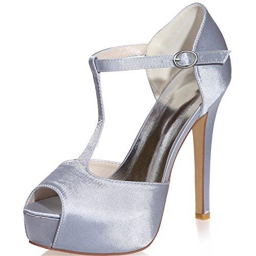 Satin Shoes Sarahbridal Peep Uk Dresses 7 For Size 37 Wedding 4 strap T Pumps Silver Uk Toe Women Heels Girls Bridal Szxf3128 SpqfUpEw