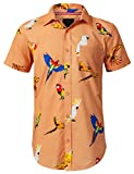 URBANCREWS Mens Hipster Hip Hop Bird Call Graphic Button Down Shirt Salmon, XL