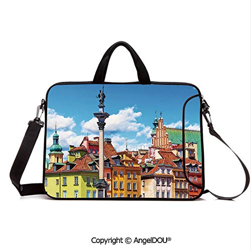 AngelDOU Notebook Bag for School Laptop Sleeve Messenger Bags Scenic Summer Castle Square Ancient Sigismund Column Old Town in Warsaw Poland D PC Cover case Compatible with mac pro/asus/acer/hp/xia