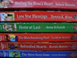 Set of 6 Love Inspired Larger Print Paperback Books: Healing The Boss's Heart, Lone Star Blessings, Home At Last, The Matchmaking Pact, Rekindled Hearts, The Hero Next Door