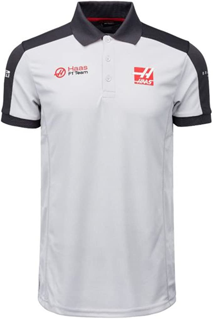 Haas F1 Team Sponsor Mens Grey Polo Shirt Amazon Co Uk Clothing