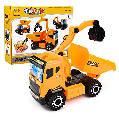Jellydog Toy Construction Trucks, 3-in-1 Take Part Toys, Inertia ToyFriction PoweredEngineering Vehicles, Building Play Construction Toy, Carton Truck Car, DIY Assembly Building Truck Puzzles for Ki - Carton Truck