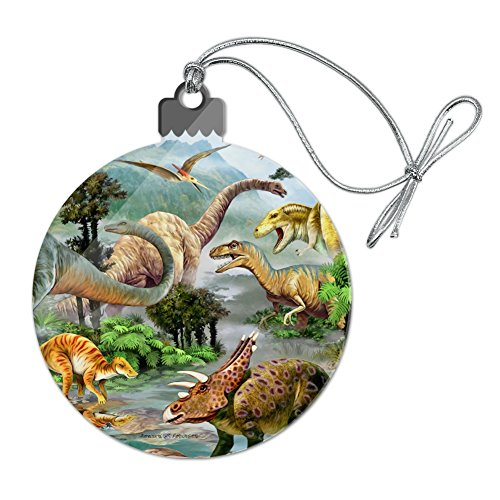 Dinosaur Jurassic Dinoscape Acrylic Christmas Tree Holiday Ornament