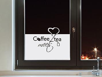 Sichtschutzfolie Fensterfolie Folie Tattoo für Küche Spruch Coffee ...
