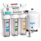 Express Water 5 Stage Under Sink Reverse Osmosis Filtration System 50 GPD RO Membrane Filter Deluxe Faucet Clear Housing Ultra Safe Residential Home Drinking Water Purification One Year Warranty