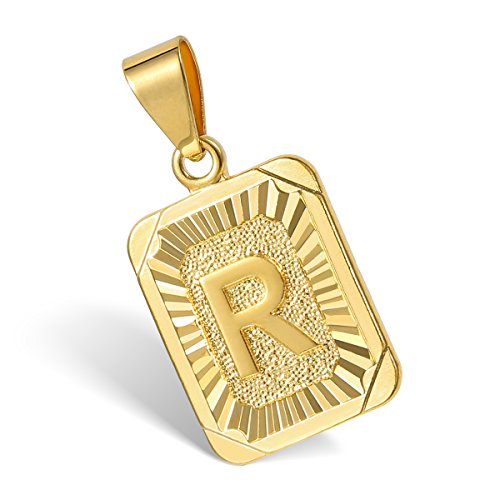 Hermah Gold Plated Charm Pendant Initital Capital Letter R Mens Pendant Square Charm Fashion New (Mens Letter)