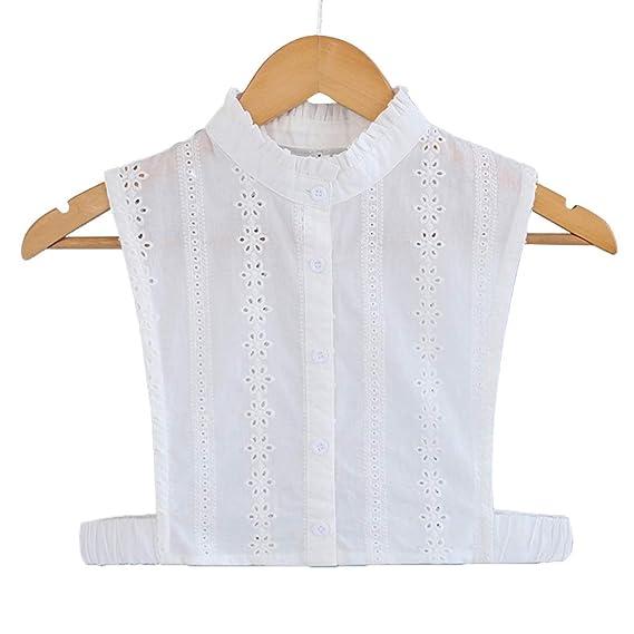 Lifet Frauen Kragen Blumen ausgehöhlt Abnehmbare Hälfte Shirt Bluse Reine  Farbe Spitze Hohl Ganzjahresartikel 1ace80ddb0