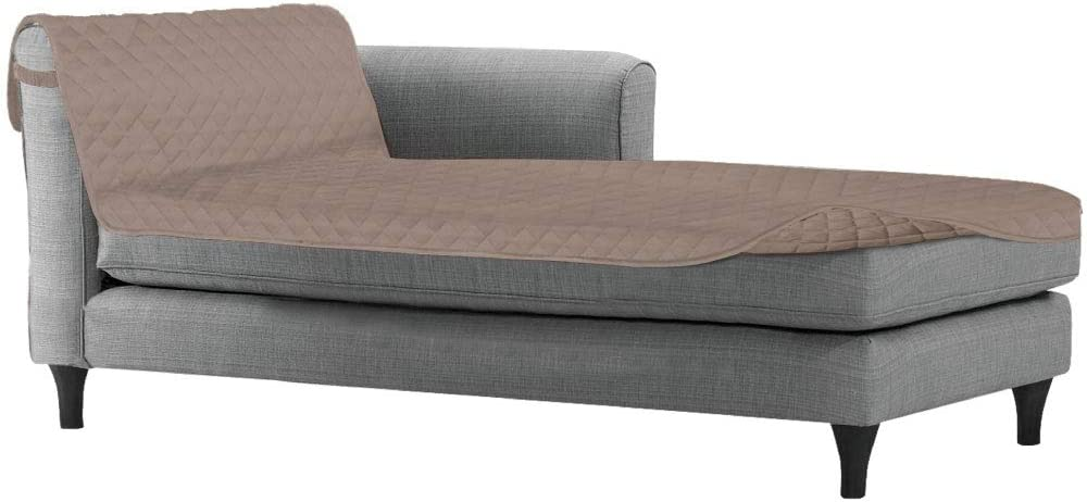 Sofa Shield Original Patent Pending Reversible Sofa Chaise Protector, Many Colors, 102x34 Inch, Washable Furniture Protector, 2 Inch Strap, Chaise Lounge Slip Cover for Pets, Dogs, Cats, Light Taupe