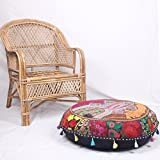 Bohemian Round Floor cushion ,Traditional Vintage Indian Pouf Floor/Foot Stool, 100% Cotton Art Decor Cushion, Only Cover, Filler not Included