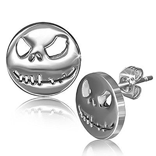 One Pair of New Hypoallergenic Nightmare Skeleton 316L Surgical Stainless Steel 8 mm Stud (Nightmare Before Christmas Jewelry)
