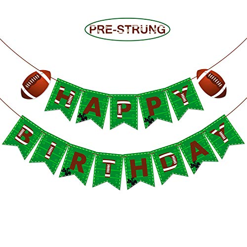 Football Themed Happy Birthday Banner Pre-strung Sports Themed Birthday Party Decoration Super Bowl Sunday or NFL Party Supplies -