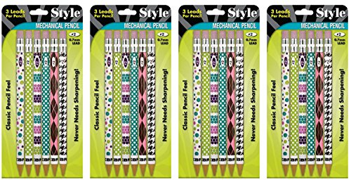 Zebra Style #2 Mechanical Pencil, 0.7mm Lead, 6 Count - 3 Leads Per Pencil, (Pack of 4 - Total 24)