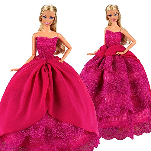 - BARWA Pink Princess Evening Party Clothes Wears Train Wedding Gown Dress Outfit for 11.5 Inch Girl Doll(Black)