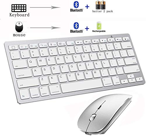 Bluetooth Keyboard and Mouse Combo,Wireless Keyboard and Mouse for iPad pro/iPad Air/iPad/iPad Mini, iPhone (iPadOS 13 / iOS 13 and Above), (Silver)