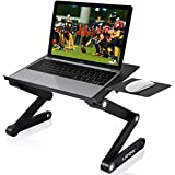 Adjustable Laptop Stand, LATOW 17 Portable Laptop Desk 360 Degree Folding Computer Lap, 2 Cooling Fans Vented, Mouse Board Side Mount, Lightweight Aluminum Tray for Bed Sofa Couch