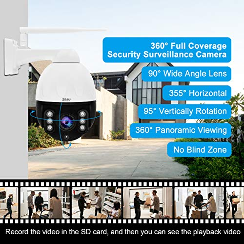 5MP ptz Camera Outdoor 4X Optical Zoom WiFi IP auto-Tracking Camera Built-in Two Way Audio for Video Security Surveillance,Support 355°pan 90°tilt/Motion & Human-Shape Detection/ONVIF protol