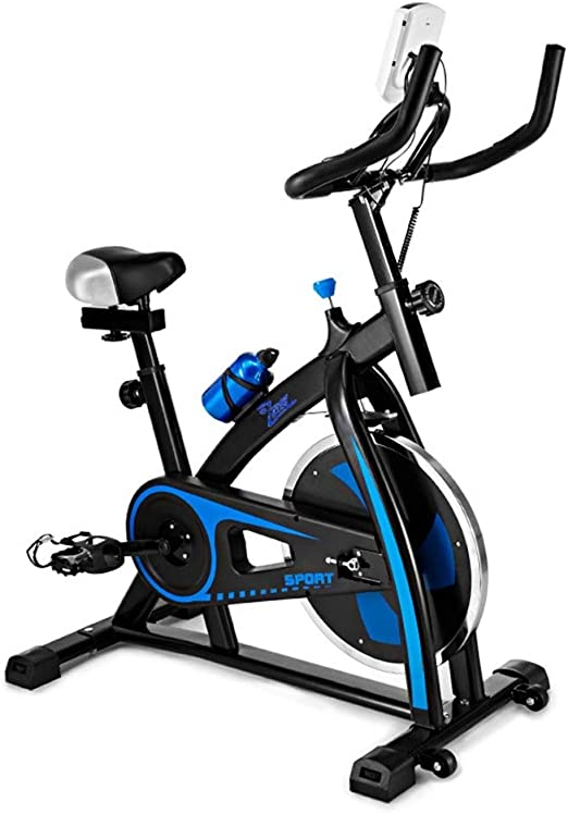 AMBM Bicicleta Estática de Spinning Profesional, Ajustable Resistencia, Pantalla LCD, Bicicleta Fitness de Gimnasio Ejercicio con Volante de Inercia, Sillín Ajustable, Máx.120kg: Amazon.es: Jardín