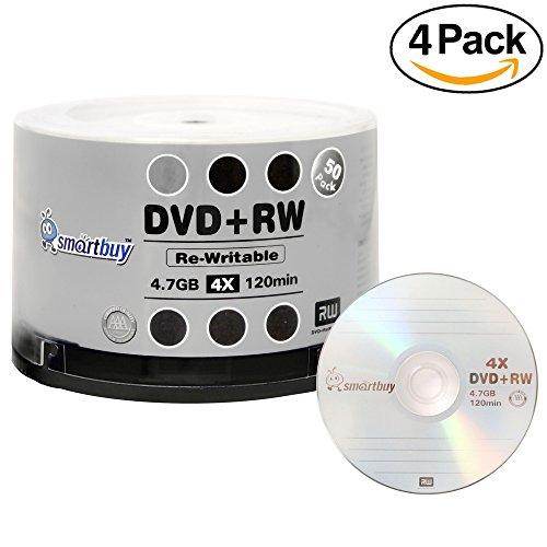 200 Pack Smartbuy Blank DVD+RW 4x 4.7GB 120Min Branded Logo Rewritable DVD Media Disc by Smartbuy