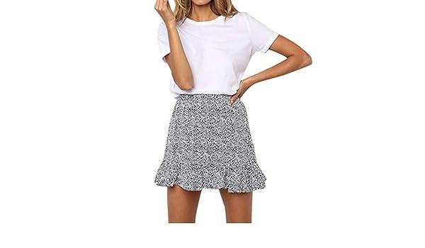 f811682651 Dami-shop Summer Casual Print Ruffles Empire Mini Skirts Women Retro High  Waist Evening Party Short Knee Skirt Trendyol White at Amazon Women's  Clothing ...