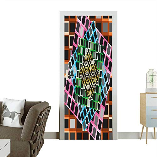 Homesonne Door Decals Squares Framework Abstract Style Modern Graphic Design Artwork Print Pressure resistantW32 x H80 INCH