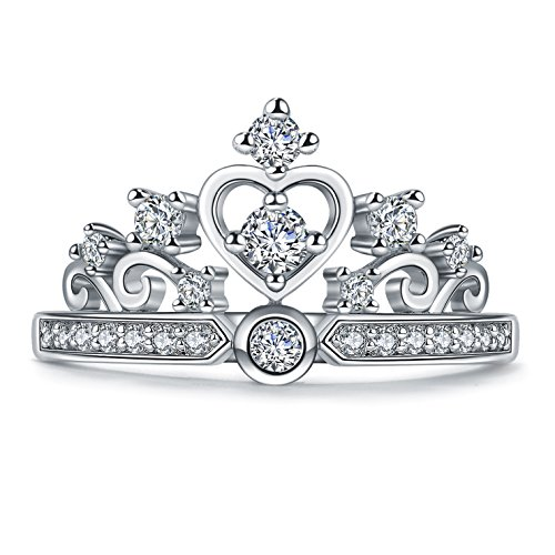Princess Heart Crown Tiara Design CZ Diamond Ring (6.5) Crown Ring Design