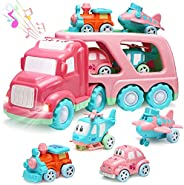 Carrier Car Toy Set(5 in 1) with Lights and Sounds, Pink Toy for Girl Toddler Kid, Friction Powered Double Lay